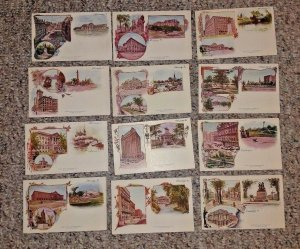 Vintage Pioneer Postcard complete set of 12 CHICAGO Patriographic unused RARE