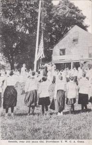 Girls raise US flag , Camp SEASIDE , Providence Y.W.C.A. Camp , RI, 00-10s