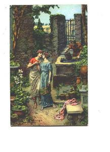 Painting, Classical Lovers in Garden de Lin, Mastroianni, Romantic Painting