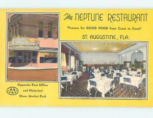 Unused Linen THE NEPTUNE RESTAURANT St. Augustine Florida FL hs5028