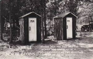 Up Where The North Begins Ma & Pa Outhouse 1948 Real Photo