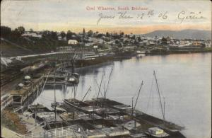 South Brisbane Australia Coal Wharves 1906 Used Postcard jrf
