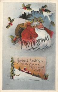 F24/ Santa Claus Merry Christmas Postcard c1934 Holly 15