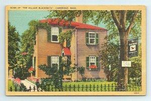 Village Blacksmith Home Cambridge Massachusetts MA Postcard