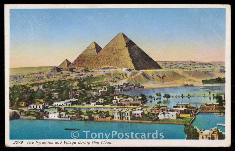 The Pyramids and Village during the Nile Flood
