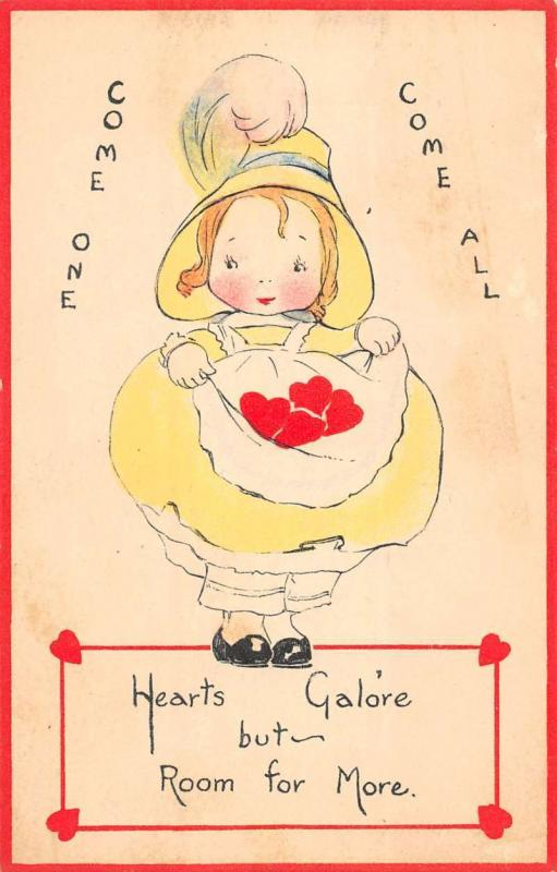 Heart Child Cartoon Valentine Greeting Antique Postcard K28891