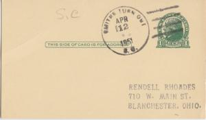 SMITHS TURN OFF , SC - Postal cancel on 1ct postcard / Chester County