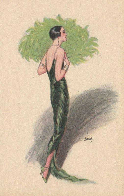 Art Deco ; BIANCHI ; Woman in green , 1910-20s