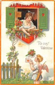Valentines Greetings Cupid with Letter Antique Postcard J44557