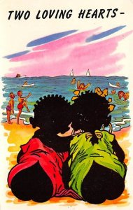 Two Loving Hearts Cartoon of Two Babies at the Beach Blacks Unused