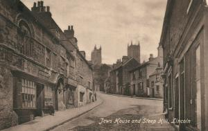 JEWS HOUSE & STEEP HILL LINCOLN UK ANTIQUE POSTCARD Judaica