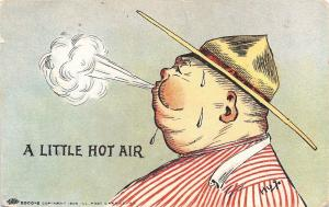 Hugo~Comic~A Little Hot Air~Fat Fellow Blows Smoke~Bursts Tight Collar~IPCC