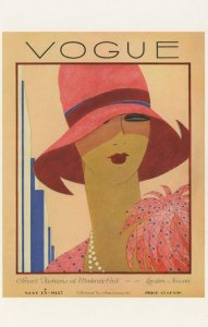 London 1927 Fashion Summer Hat Edwardian Vogue Magazine Postcard