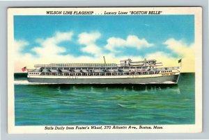 Boston MA- Massachusetts, Luxury Liner, Boston Belle, Chrome Postcard