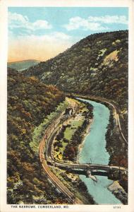 Cumberland Maryland~The Narrows River Valley~Railroad Tracks~Bridge~1920s Pc