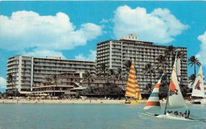 4339  HI Waikiki beach  1970's The Reef Hotel , Catamaran sailboat sailing