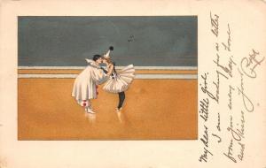 Harlequin Dancers~Perriot Clown & Ballerina~Pom Poms~MM Vienne Nr 147~1905