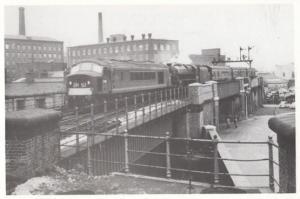 D122 & 44825 Derby Train entering Stockport Railway Station in 1962 Postcard