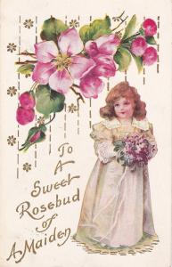 Girl & flowers , To a sweet rosebud of A Maiden , PU-1908
