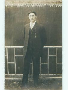 Old rppc MAN - MEN - MALE Possible Gay Interest Postcard AB1724