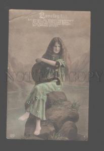 083556 MERMAID Nymph LONG HAIR w/ HARP Lyra Vintage PHOTO