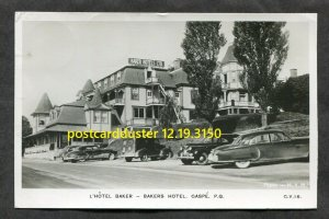 3150 - GASPE Quebec 1957 Bakers Hotel. Cars. Real Photo Postcard