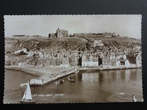 Yorkshire WHITBY Cliff & Abbey c1964 RP Postcard by Valentine L2984