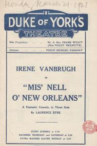 Miss Nell O New Orleans Comedy Duke Of Yorks London Theatre Programme