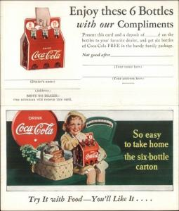Vintage Coca Cola Adv Little Girl w/ Six Pack Carton Fold-Open Postcard
