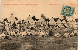 CPA  Militaire - Camp de Chalons - Un Campement et la Soupe  (695597)