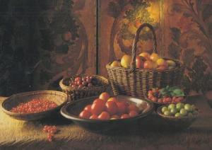 Redcurrant Currants Gooseberries Strawberries Raspberry Still Life Food Postcard