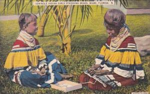 Seminole Indian Girls Stringing Beads Miami Florida