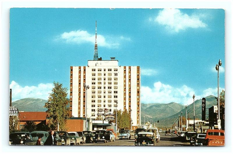 Postcard AK Anchorage Mt McKinley Apartments 1950's Old Cars Street View G15