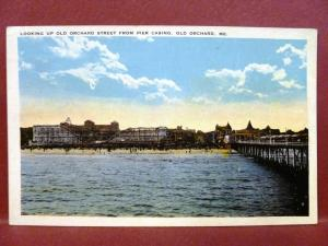 Postcard ME Old Orchard Showing Roller Coaster & Beach from Pier Casino
