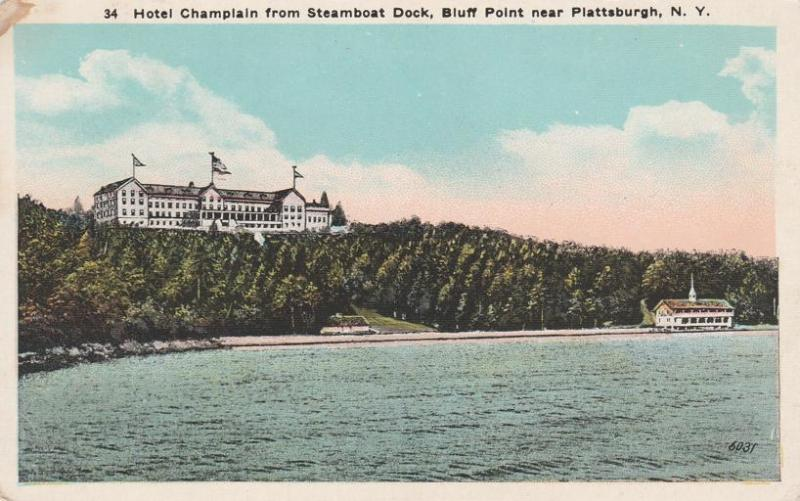 Hotel Champlain From Steamboat Dock Plattsburgh Ny New York Wb