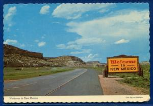 Welcome to New Mexico nm highway sign chrome postcard