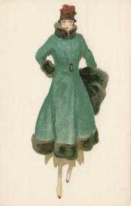 ART DECO ; Female wearing green & black fur trimmed coat, hat1910-20s