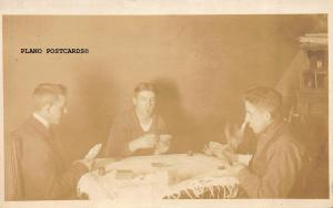 MEN PLAYING CARDS-EARLY 20TH CENTURY RPPC REAL PHOTO POSTCARD