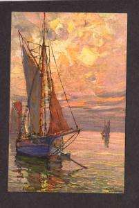 Sailboats Boats French Artist Signed Andre Beronneau Painting Carte Postale