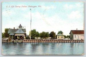 Sheboygan Wisconsin~US Life Saving Station on Lake Michigan~Lifeboats~1907 PC