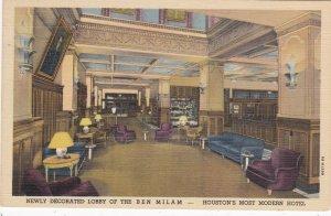 Texas Houston Ben Milam Hotel Lobby Curteich sk4440