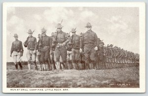 Little Rock Arkansas~Camp Pike~WWI Soldiers on March~Men @ Drill~c1917 Postcard