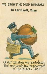 c1910 Faribault Minnesota Agriculture Tomato Exaggeration Mailman Tax Postcard