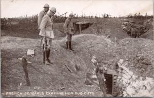 French Generals Examine Hun Dug-Outs Germans WW1 Military RPPC Postcard E25