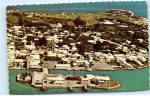 *1970s Aerial View St. George's Old Capital Bermuda Vintage Postcard A37
