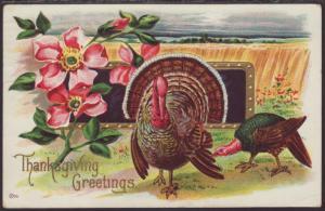 Thanksgiving Greetings,Turkeys,Flowers