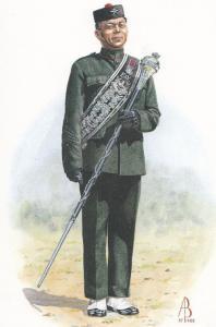 Drum Major Of The Royal Gurkha Rifles Uniform Military Postcard