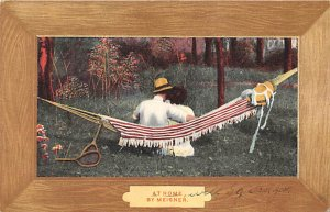 Tennis Post Card At Home by Meisner Man and Woman in Hammock Postal Used, Dat...
