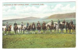 Ranching in the Canadian West, A Round-up Camp, Horses and riders group, Cana...