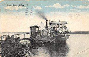 F56/ Fulton Illinois Postcard 1919 Ferry Boat Dock People